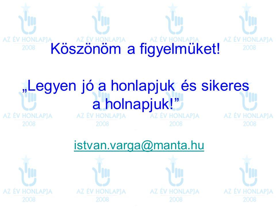 """Köszönöm a figyelmüket! """"Legyen jó a honlapjuk és sikeres a holnapjuk!"""" istvan.varga@manta.hu"""