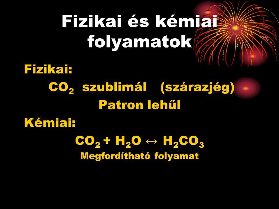 Fizikai és kémiai folyamatok Fizikai: CO 2 szublimál (szárazjég) Patron lehűl Kémiai: CO 2 + H 2 O ↔ H 2 CO 3 Megfordítható folyamat