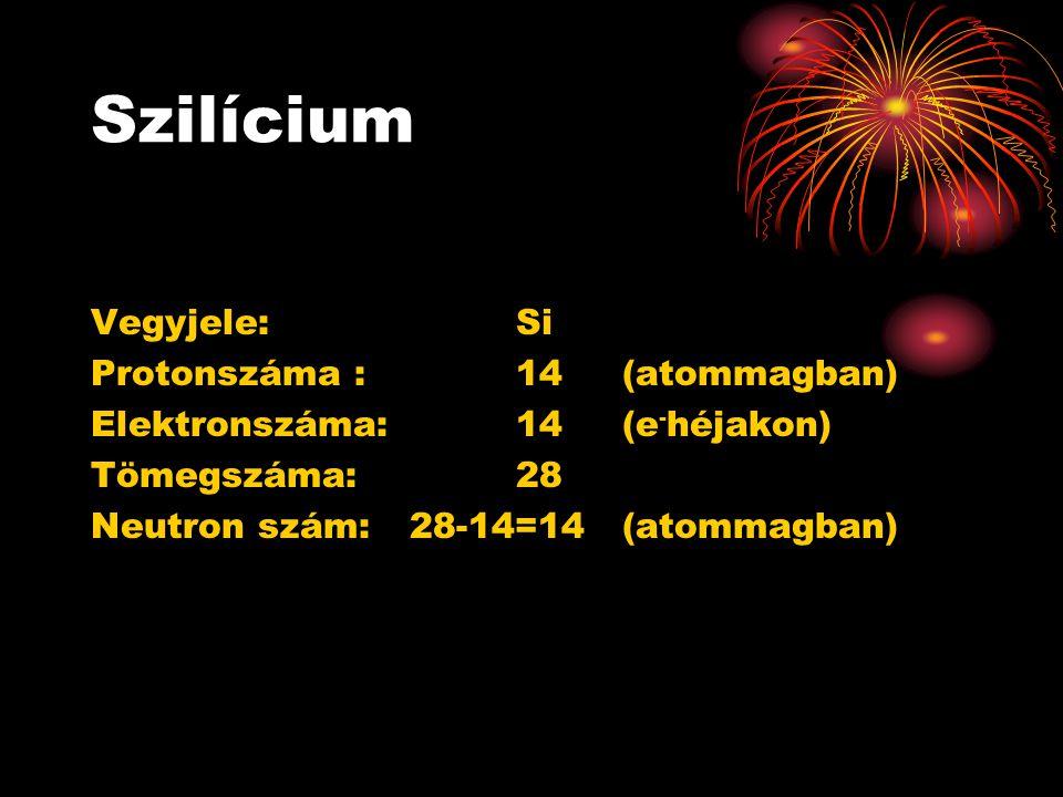 Szilícium Vegyjele: Si Protonszáma :14 (atommagban) Elektronszáma:14(e - héjakon) Tömegszáma:28 Neutron szám: 28-14=14(atommagban)
