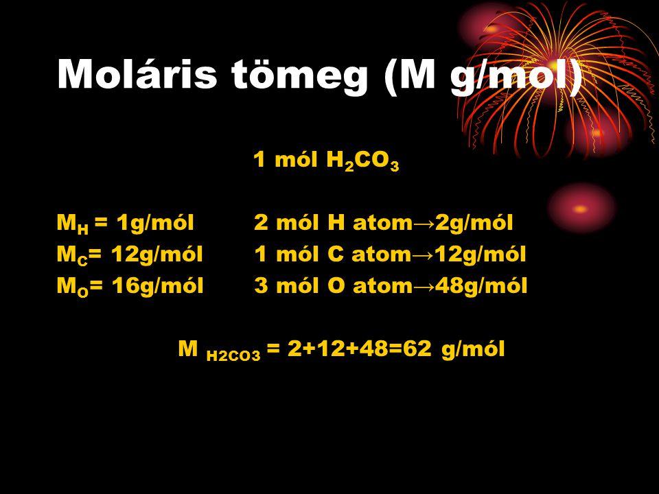 Moláris tömeg (M g/mol) 1 mól H 2 CO 3 M H = 1g/mól 2 mól H atom→2g/mól M C = 12g/mól1 mól C atom→12g/mól M O = 16g/mól 3 mól O atom→48g/mól M H2CO3 =