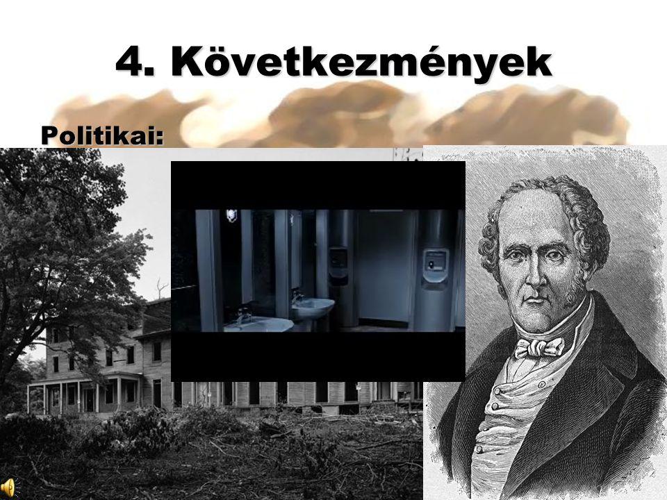 4. Következmények Politikai: Munkásmozgalmak: 1. spontán/ösztönös: géprombolás 2. Jótékonyság és utópia: Owen Fourier