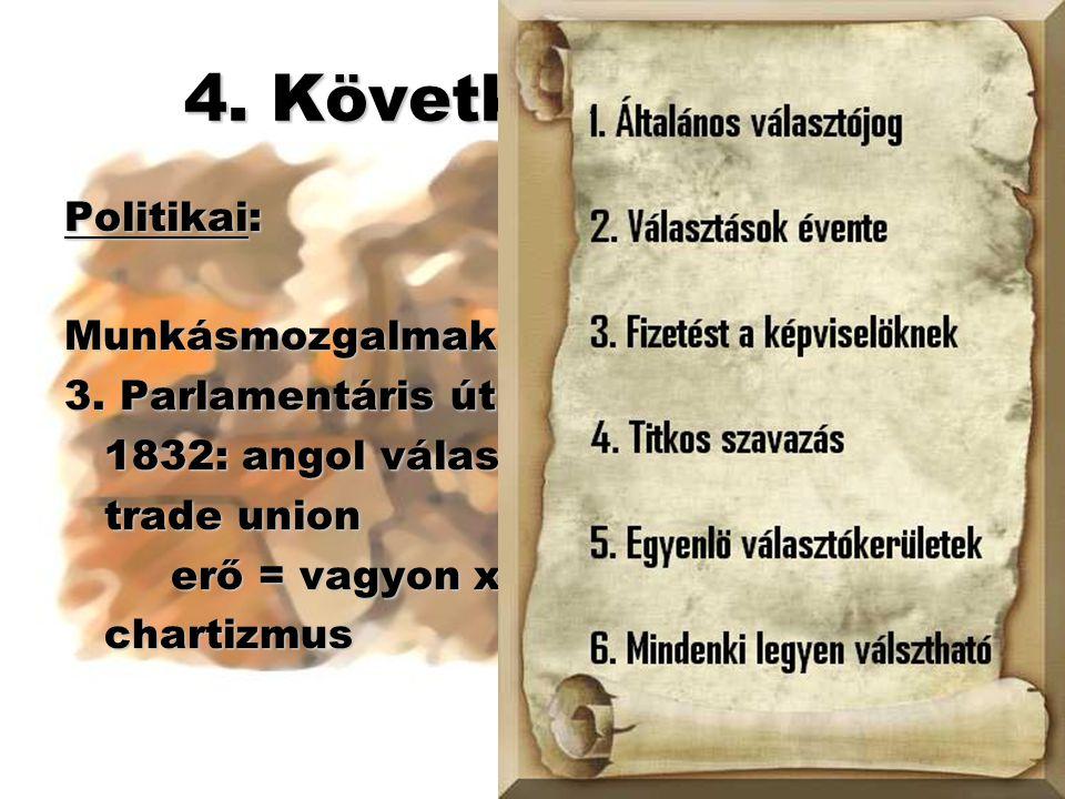 4. Következmények Politikai: Munkásmozgalmak: 3. Parlamentáris út 1832: angol választójogi reform trade union erő = vagyon x helyettesíthetőség charti