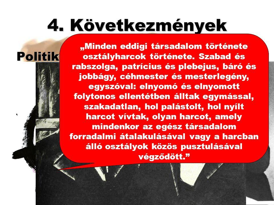 """4. Következmények Politikai: Munkásmozgalmak: 4. Forradalmi út Louis Blanc ProudhonMarx-Engels """"Minden eddigi társadalom története osztályharcok törté"""