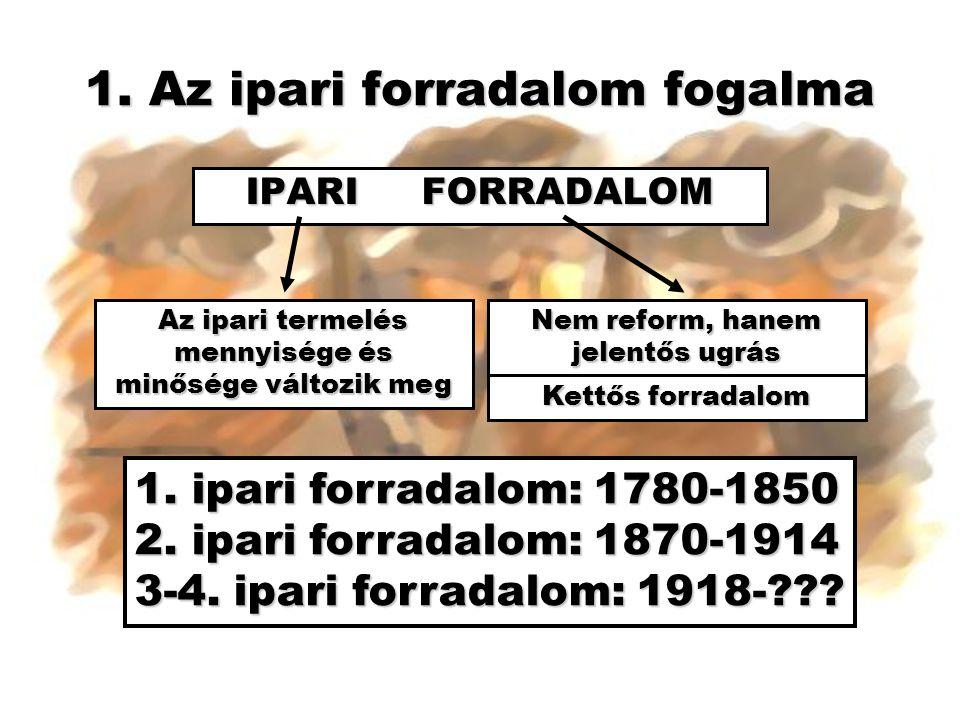 1. Az ipari forradalom fogalma IPARI FORRADALOM Az ipari termelés mennyisége és minősége változik meg Nem reform, hanem jelentős ugrás 1. ipari forrad