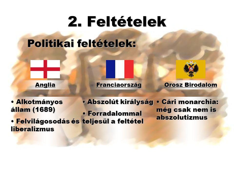 2. Feltételek AngliaFranciaország Orosz Birodalom Politikai feltételek: • Alkotmányos állam (1689) • Felvilágosodás és liberalizmus • Abszolút királys