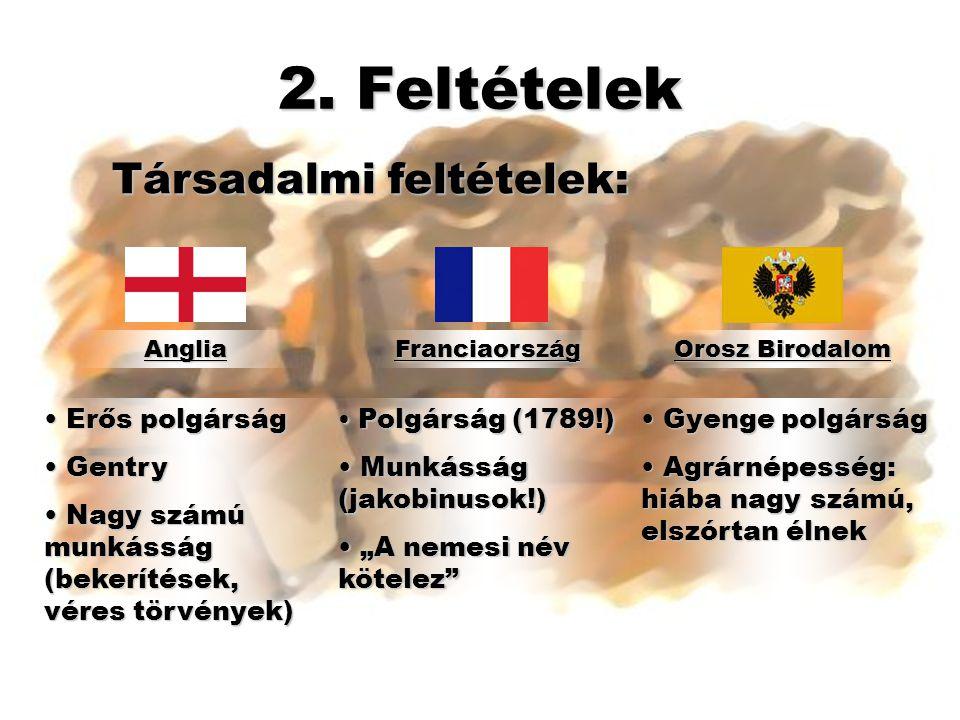 2. Feltételek AngliaFranciaország Orosz Birodalom Társadalmi feltételek: • Erős polgárság • Gentry • Nagy számú munkásság (bekerítések, véres törvénye