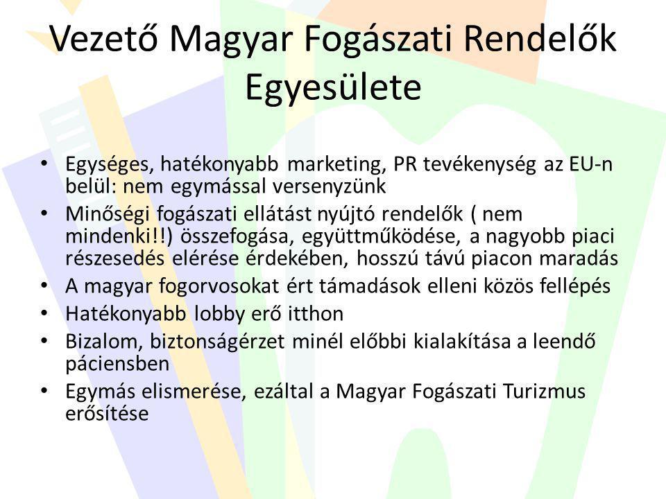 Vezető Magyar Fogászati Rendelők Egyesülete • Egységes, hatékonyabb marketing, PR tevékenység az EU-n belül: nem egymással versenyzünk • Minőségi fogá