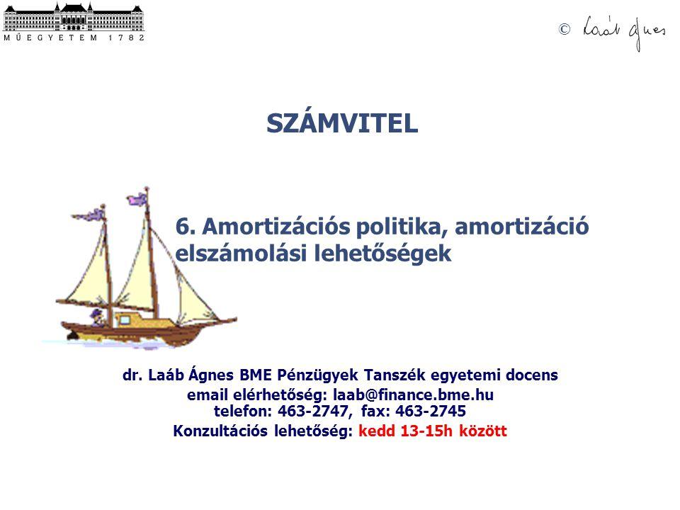 SZÁMVITEL © 6.Amortizációs politika, amortizáció elszámolási lehetőségek dr.
