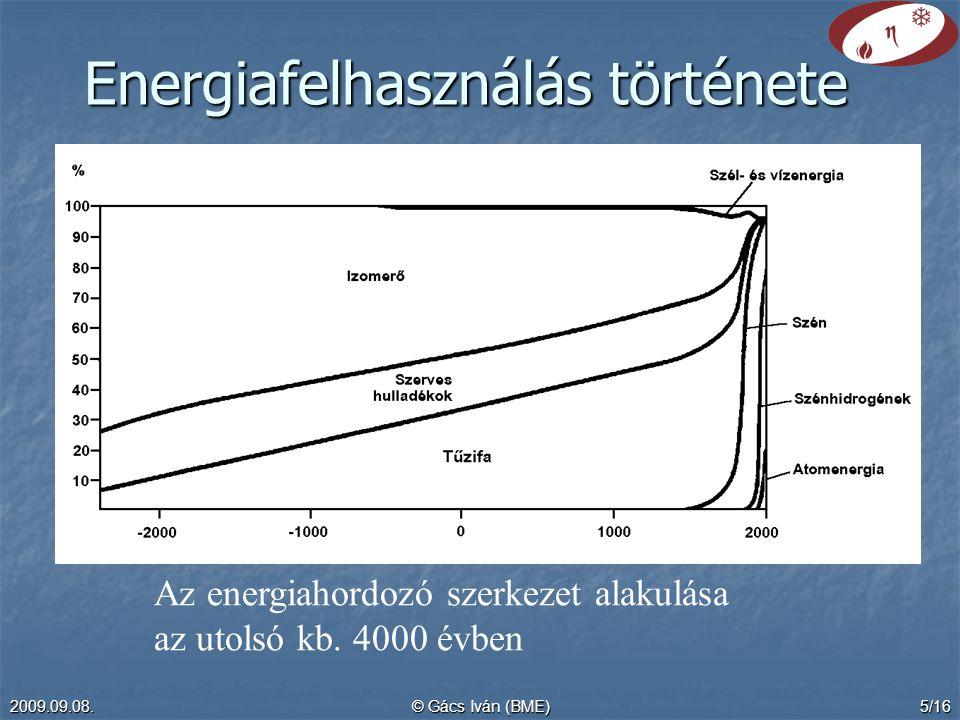 2009.09.08.© Gács Iván (BME)5/16 Energiafelhasználás története Az energiahordozó szerkezet alakulása az utolsó kb.