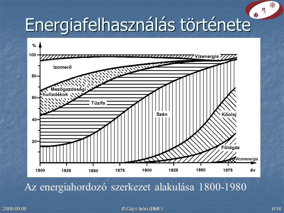 2009.09.08.© Gács Iván (BME)6/16 Az energiahordozó szerkezet alakulása 1800-1980 Energiafelhasználás története