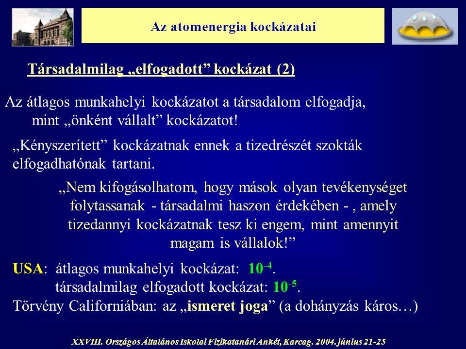"""Az atomenergia kockázatai XXVIII. Országos Általános Iskolai Fizikatanári Ankét, Karcag. 2004. június 21-25 Társadalmilag """"elfogadott"""" kockázat (2) Az"""