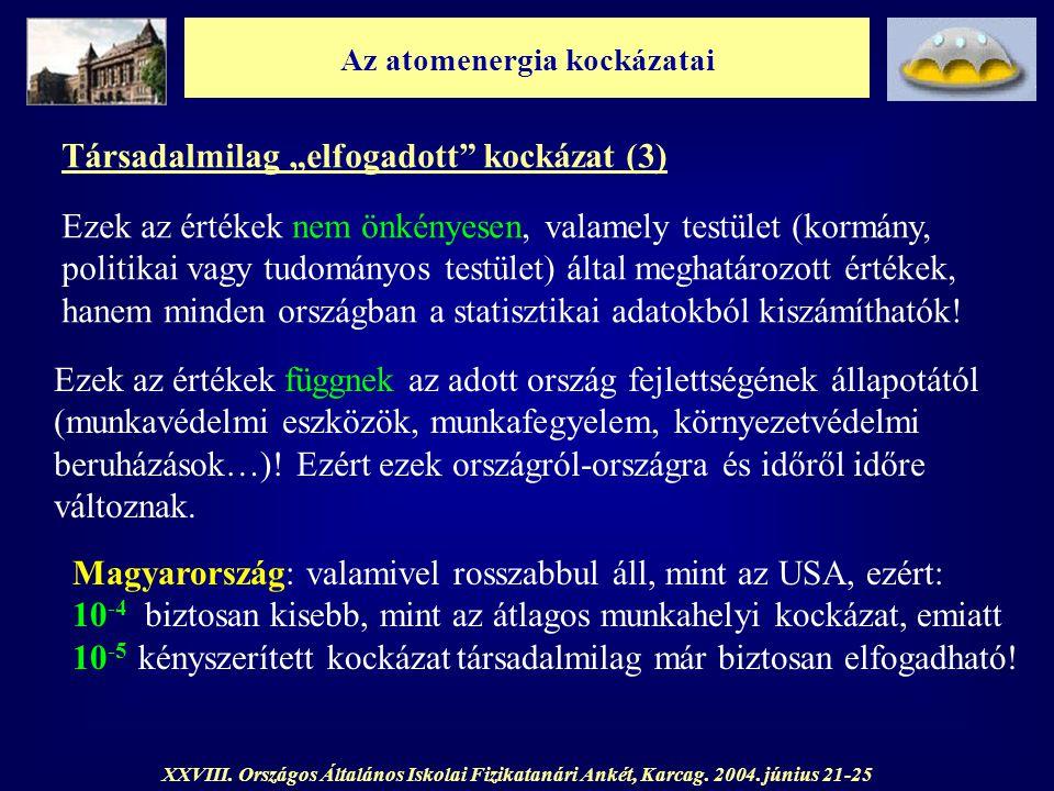 """Az atomenergia kockázatai XXVIII. Országos Általános Iskolai Fizikatanári Ankét, Karcag. 2004. június 21-25 Társadalmilag """"elfogadott"""" kockázat (3) Ez"""