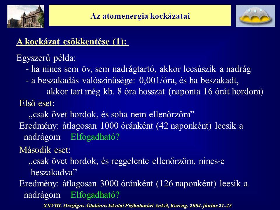 Az atomenergia kockázatai XXVIII. Országos Általános Iskolai Fizikatanári Ankét, Karcag. 2004. június 21-25 A kockázat csökkentése (1): Egyszerű példa