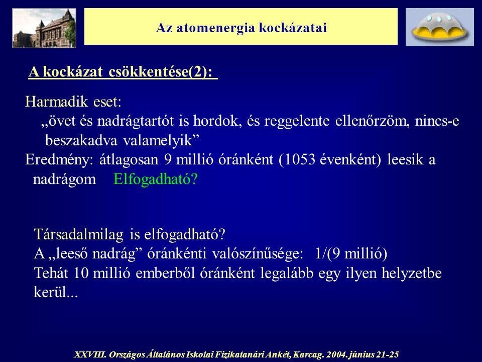 Az atomenergia kockázatai XXVIII. Országos Általános Iskolai Fizikatanári Ankét, Karcag. 2004. június 21-25 A kockázat csökkentése(2): Harmadik eset: