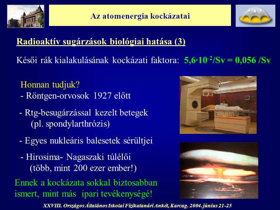 Az atomenergia kockázatai XXVIII. Országos Általános Iskolai Fizikatanári Ankét, Karcag. 2004. június 21-25 Radioaktív sugárzások biológiai hatása (3)