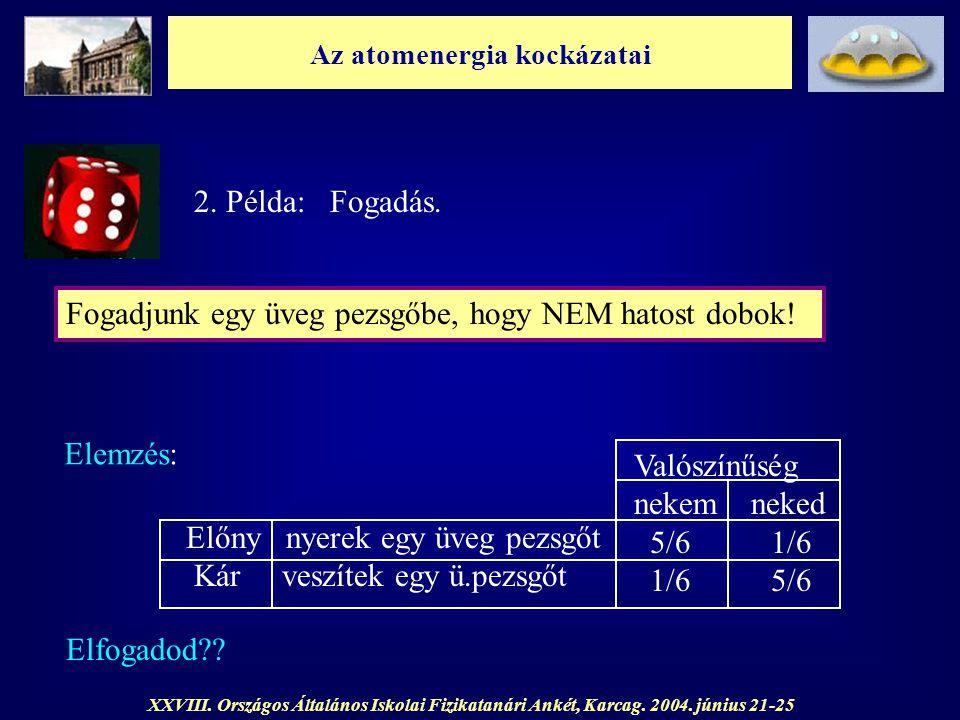 Az atomenergia kockázatai XXVIII. Országos Általános Iskolai Fizikatanári Ankét, Karcag. 2004. június 21-25 2. Példa: Fogadás. Fogadjunk egy üveg pezs