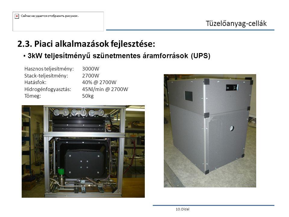10.Oldal Tüzelőanyag-cellák 2.3. Piaci alkalmazások fejlesztése: • 3kW teljesítményű szünetmentes áramforrások (UPS) Hasznos teljesítmény: 3000W Stack