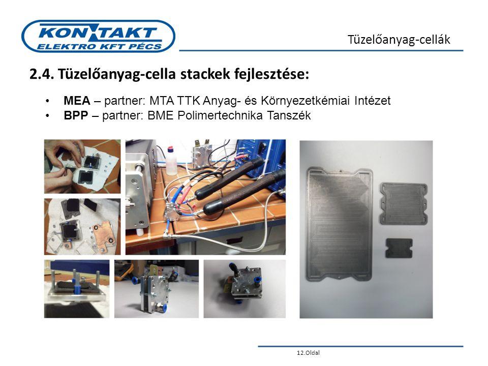 12.Oldal Tüzelőanyag-cellák 2.4. Tüzelőanyag-cella stackek fejlesztése: •MEA – partner: MTA TTK Anyag- és Környezetkémiai Intézet •BPP – partner: BME