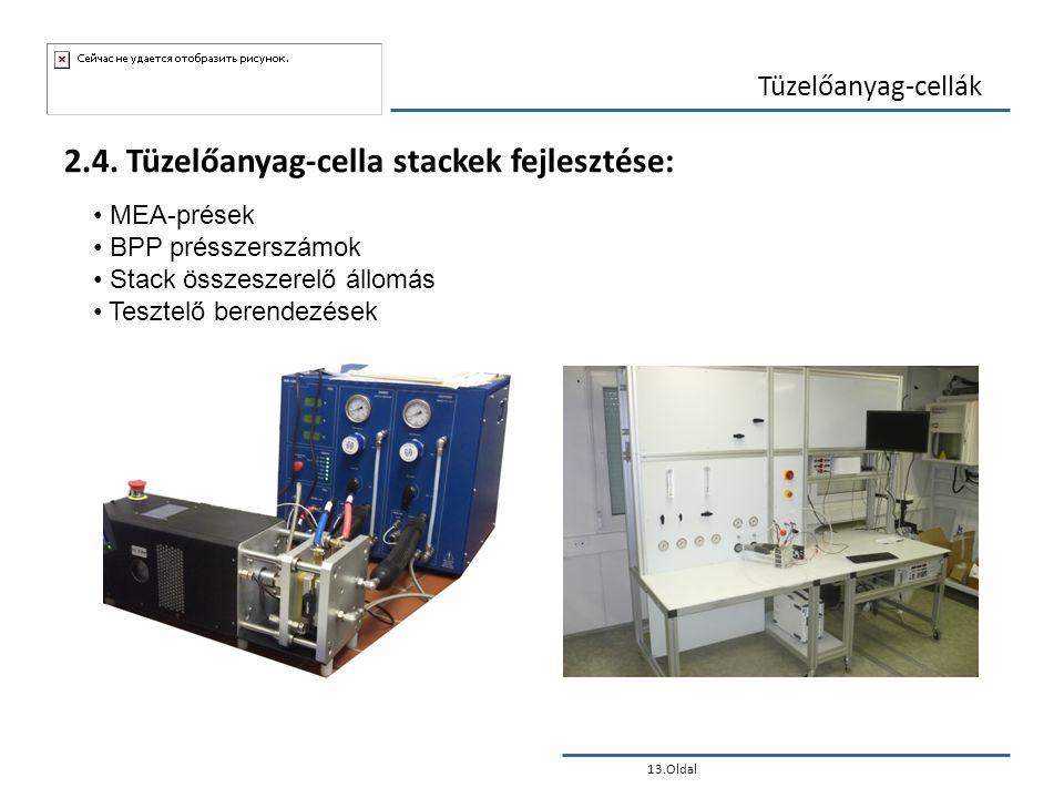 13.Oldal Tüzelőanyag-cellák 2.4. Tüzelőanyag-cella stackek fejlesztése: • MEA-prések • BPP présszerszámok • Stack összeszerelő állomás • Tesztelő bere