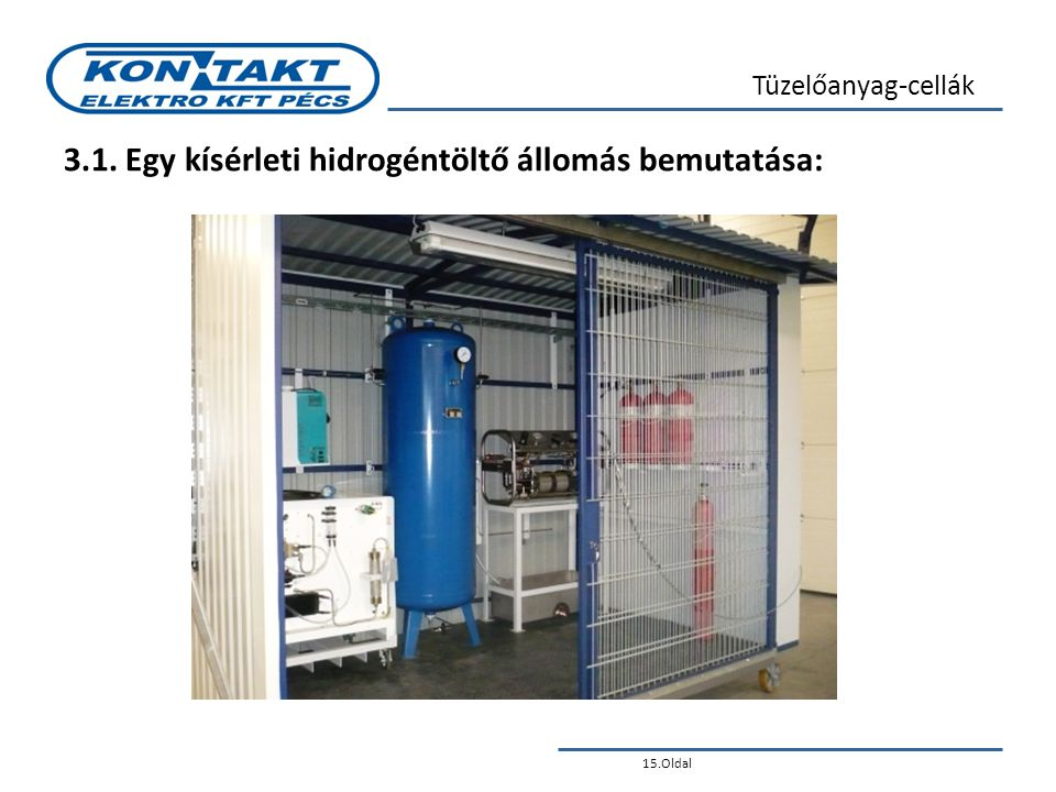 15.Oldal Tüzelőanyag-cellák 3.1. Egy kísérleti hidrogéntöltő állomás bemutatása: