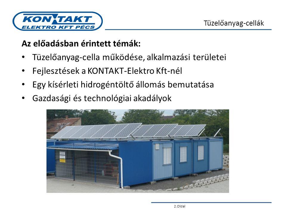 2.Oldal Tüzelőanyag-cellák Az előadásban érintett témák: • Tüzelőanyag-cella működése, alkalmazási területei • Fejlesztések a KONTAKT-Elektro Kft-nél