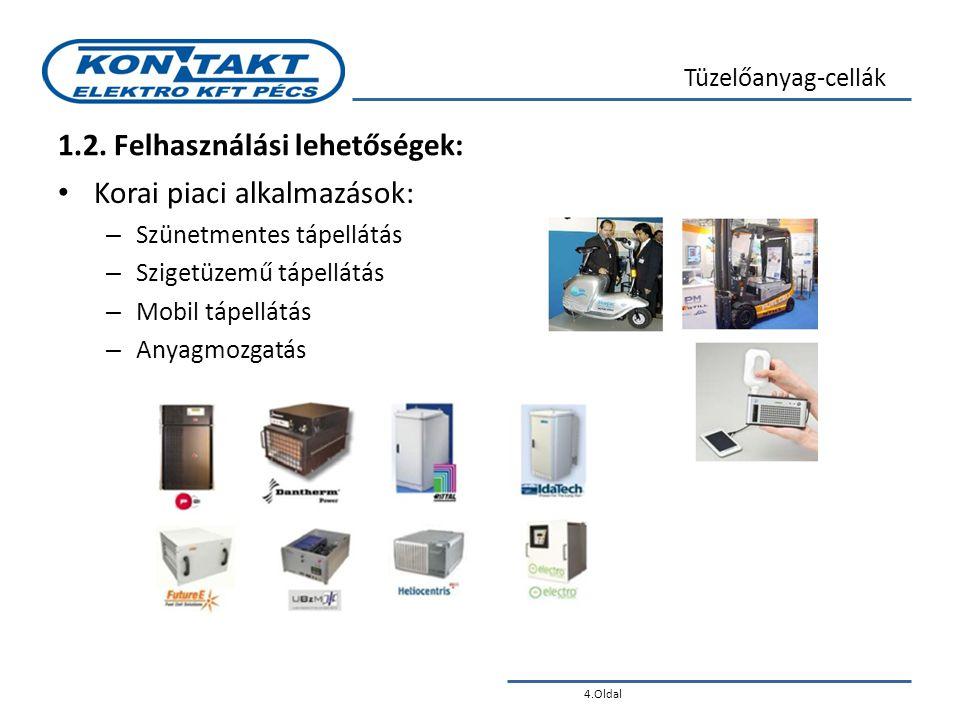 4.Oldal Tüzelőanyag-cellák 1.2. Felhasználási lehetőségek: • Korai piaci alkalmazások: – Szünetmentes tápellátás – Szigetüzemű tápellátás – Mobil tápe