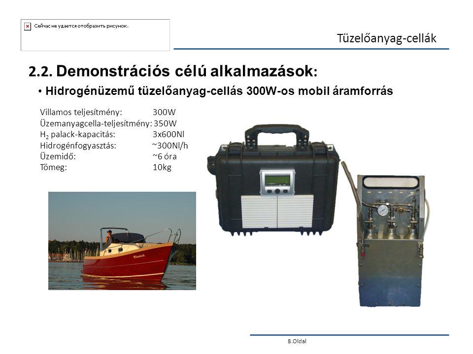 8.Oldal Tüzelőanyag-cellák 2.2. Demonstrációs célú alkalmazások : • Hidrogénüzemű tüzelőanyag-cellás 300W-os mobil áramforrás Villamos teljesítmény: 3