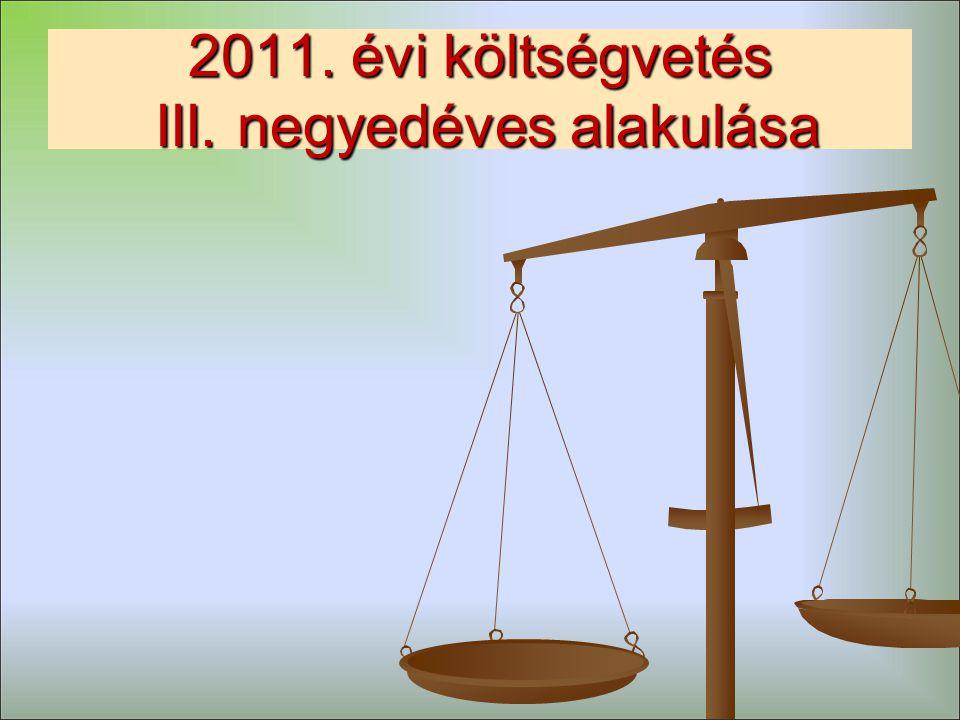 2011. évi költségvetés III. negyedéves alakulása