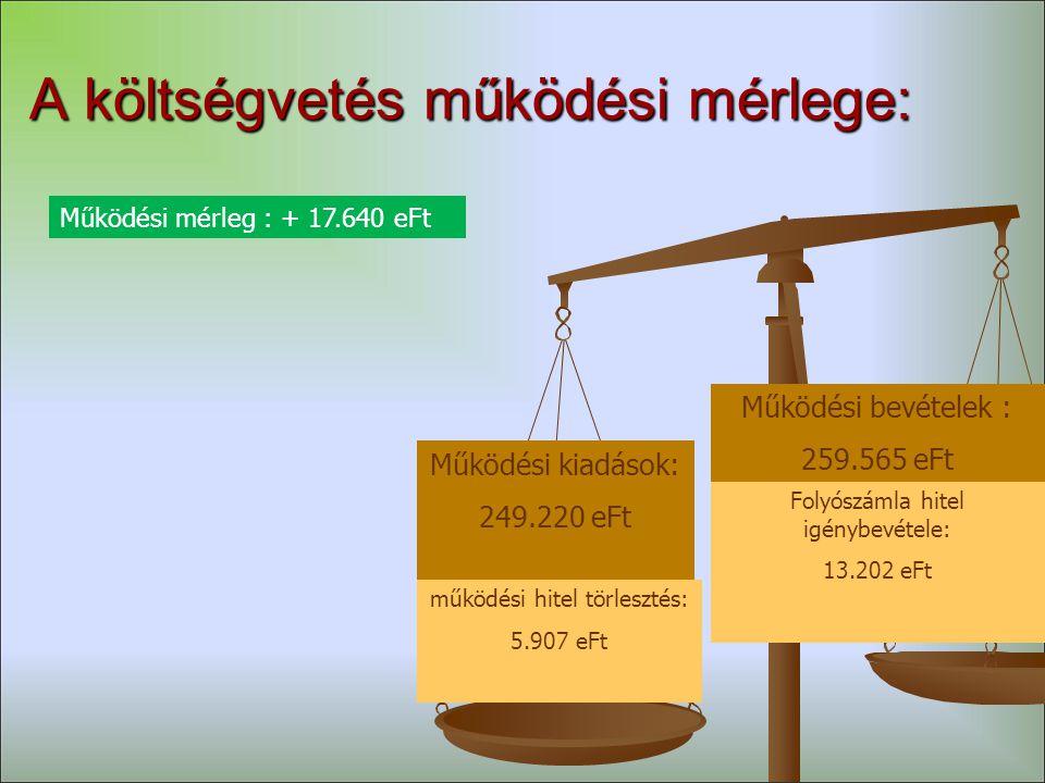 A költségvetés működési mérlege: Működési kiadások: 249.220 eFt Működési bevételek : 259.565 eFt Folyószámla hitel igénybevétele: 13.202 eFt Működési mérleg : + 17.640 eFt működési hitel törlesztés: 5.907 eFt