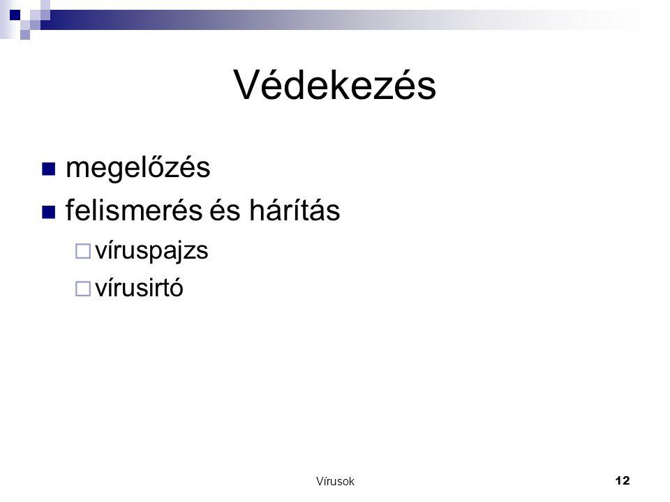 Vírusok12 Védekezés  megelőzés  felismerés és hárítás  víruspajzs  vírusirtó