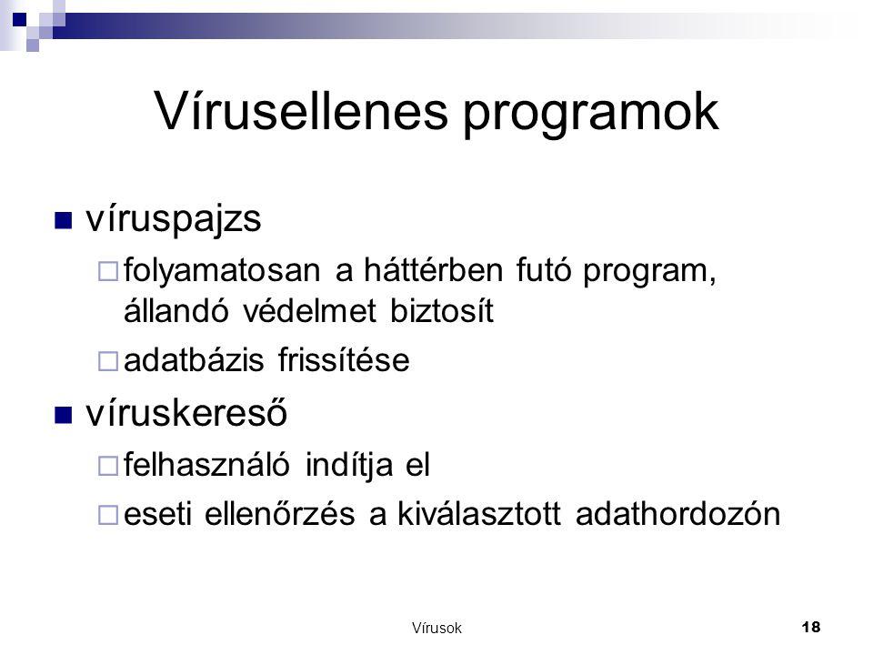 Vírusok18 Vírusellenes programok  víruspajzs  folyamatosan a háttérben futó program, állandó védelmet biztosít  adatbázis frissítése  víruskereső  felhasználó indítja el  eseti ellenőrzés a kiválasztott adathordozón