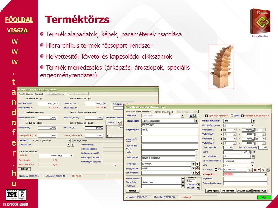 www.tandofer.huwww.tandofer.hu ISO 9001:2000 FŐOLDAL Terméktörzs Termék alapadatok, képek, paraméterek csatolása Hierarchikus termék főcsoport rendszer Helyettesítő, követő és kapcsolódó cikkszámok Termék menedzselés (árképzés, ároszlopok, speciális engedményrendszer) VISSZA