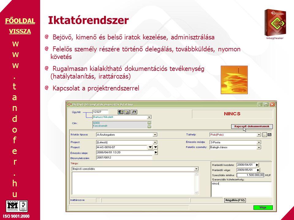 www.tandofer.huwww.tandofer.hu ISO 9001:2000 FŐOLDAL Iktatórendszer Bejövő, kimenő és belső iratok kezelése, adminisztrálása Felelős személy részére t