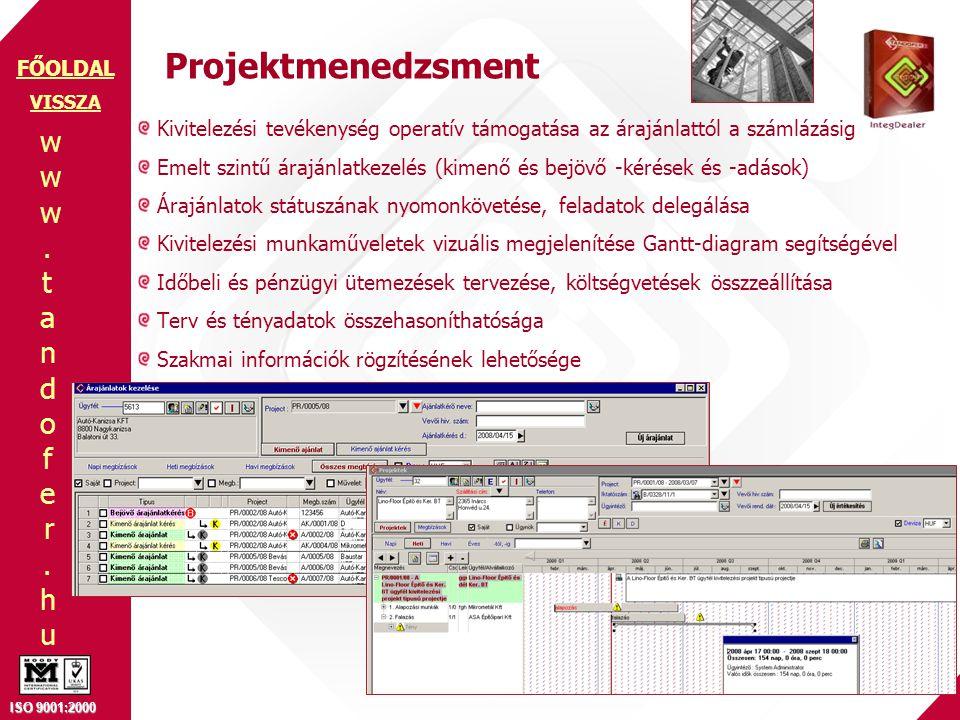 www.tandofer.huwww.tandofer.hu ISO 9001:2000 FŐOLDAL Projektmenedzsment Kivitelezési tevékenység operatív támogatása az árajánlattól a számlázásig Emelt szintű árajánlatkezelés (kimenő és bejövő -kérések és -adások) Árajánlatok státuszának nyomonkövetése, feladatok delegálása Kivitelezési munkaműveletek vizuális megjelenítése Gantt-diagram segítségével Időbeli és pénzügyi ütemezések tervezése, költségvetések összzeállítása Terv és tényadatok összehasoníthatósága Szakmai információk rögzítésének lehetősége VISSZA