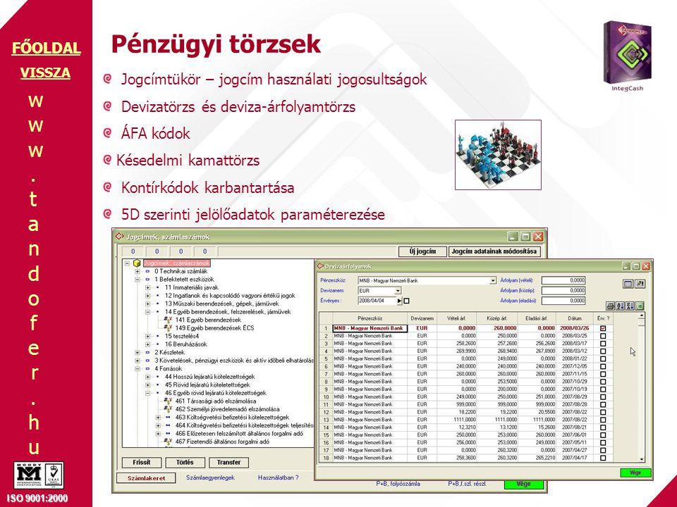 www.tandofer.huwww.tandofer.hu ISO 9001:2000 FŐOLDAL Pénzügyi törzsek Jogcímtükör – jogcím használati jogosultságok Devizatörzs és deviza-árfolyamtörzs ÁFA kódok Késedelmi kamattörzs Kontírkódok karbantartása 5D szerinti jelölőadatok paraméterezése VISSZA