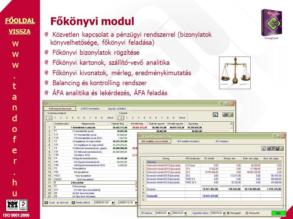 www.tandofer.huwww.tandofer.hu ISO 9001:2000 FŐOLDAL Főkönyvi modul Közvetlen kapcsolat a pénzügyi rendszerrel (bizonylatok könyvelhetősége, főkönyvi feladása) Főkönyvi bizonylatok rögzítése Főkönyvi kartonok, szállító-vevő analitika Főkönyvi kivonatok, mérleg, eredménykimutatás Balancing és kontrolling rendszer ÁFA analitika és lekérdezés, ÁFA feladás VISSZA