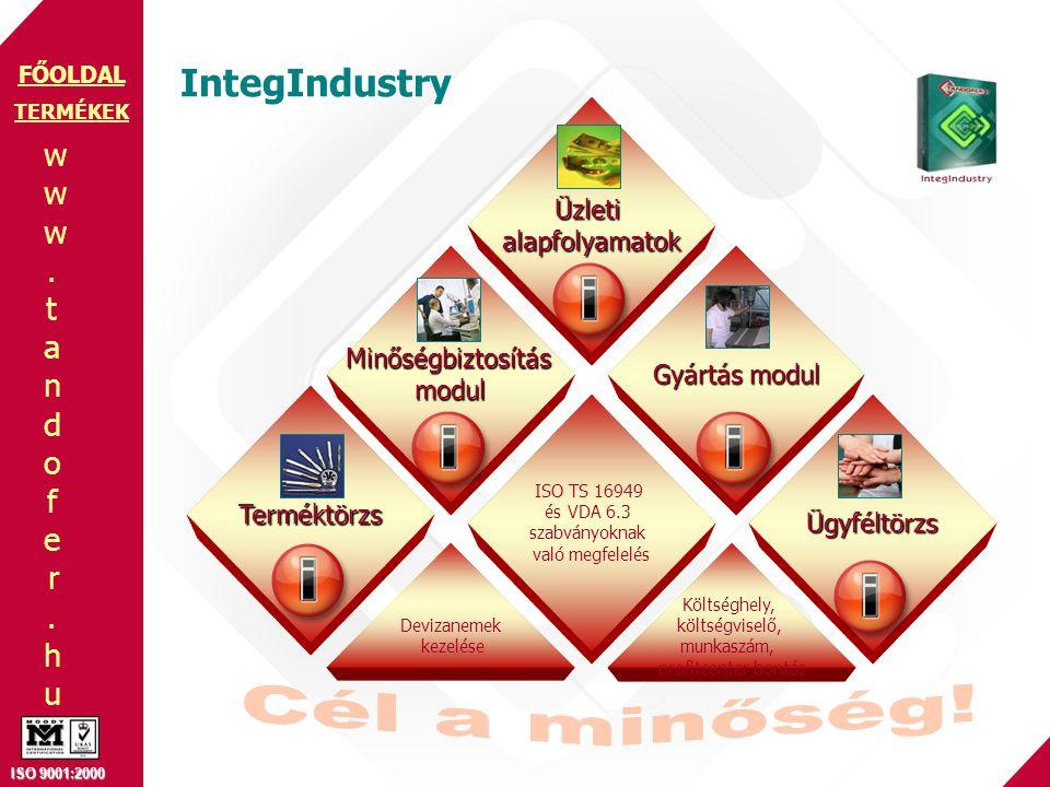 www.tandofer.huwww.tandofer.hu ISO 9001:2000 FŐOLDAL IntegIndustry TERMÉKEK Üzletialapfolyamatok Ügyféltörzs Gyártás modul Minőségbiztosításmodul Terméktörzs ISO TS 16949 és VDA 6.3 szabványoknak való megfelelés Devizanemek kezelése Költséghely, költségviselő, munkaszám, profitcenter bontás