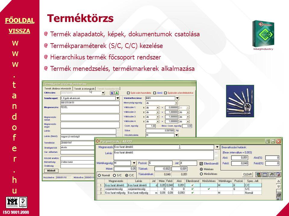 www.tandofer.huwww.tandofer.hu ISO 9001:2000 FŐOLDAL Terméktörzs Termék alapadatok, képek, dokumentumok csatolása Termékparaméterek (S/C, C/C) kezelés