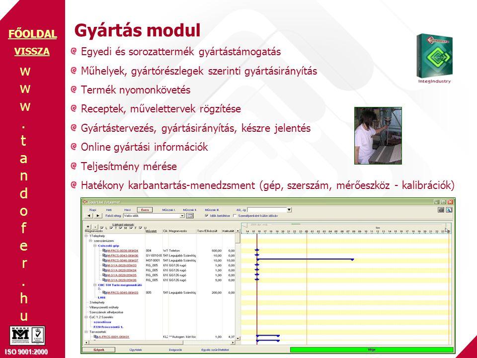 www.tandofer.huwww.tandofer.hu ISO 9001:2000 FŐOLDAL Gyártás modul Egyedi és sorozattermék gyártástámogatás Műhelyek, gyártórészlegek szerinti gyártásirányítás Termék nyomonkövetés Receptek, művelettervek rögzítése Gyártástervezés, gyártásirányítás, készre jelentés Online gyártási információk Teljesítmény mérése Hatékony karbantartás-menedzsment (gép, szerszám, mérőeszköz - kalibrációk) VISSZA