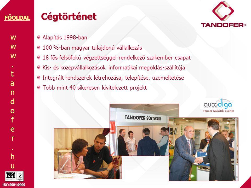www.tandofer.huwww.tandofer.hu ISO 9001:2000 FŐOLDAL A Tandofer felépítése Tulajdonosok = Vezetés Hotline Csoport • folyamatos elérhetőség • élő kapcsolat Konzulens csapat • modulonkénti konzulens személy • felhasználói tapasztalat • igénykezelés, oktatások, bevezetés • ügyviteli tanácsadás Programozók • fejlesztések • frissítések