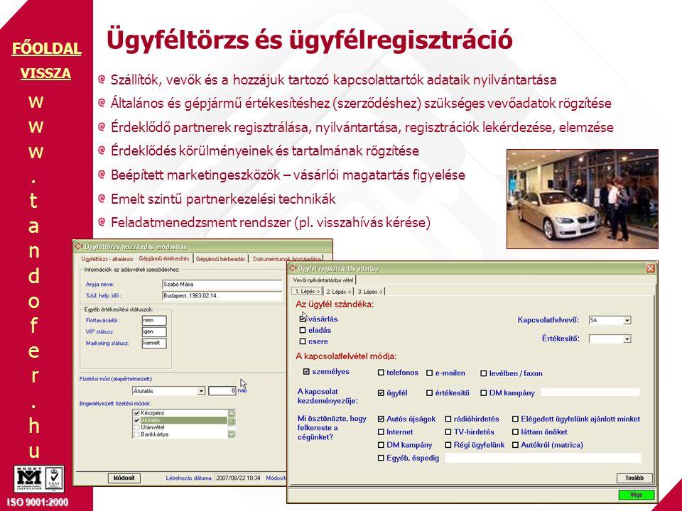 www.tandofer.huwww.tandofer.hu ISO 9001:2000 FŐOLDAL Ügyféltörzs és ügyfélregisztráció VISSZA Szállítók, vevők és a hozzájuk tartozó kapcsolattartók adataik nyilvántartása Általános és gépjármű értékesítéshez (szerződéshez) szükséges vevőadatok rögzítése Érdeklődő partnerek regisztrálása, nyilvántartása, regisztrációk lekérdezése, elemzése Érdeklődés körülményeinek és tartalmának rögzítése Beépített marketingeszközök – vásárlói magatartás figyelése Emelt szintű partnerkezelési technikák Feladatmenedzsment rendszer (pl.