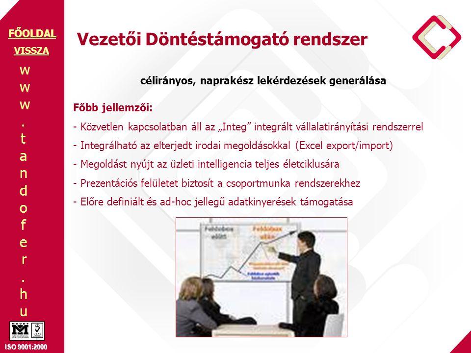 """www.tandofer.huwww.tandofer.hu ISO 9001:2000 FŐOLDAL Vezetői Döntéstámogató rendszer Főbb jellemzői: - Közvetlen kapcsolatban áll az """"Integ"""" integrált"""