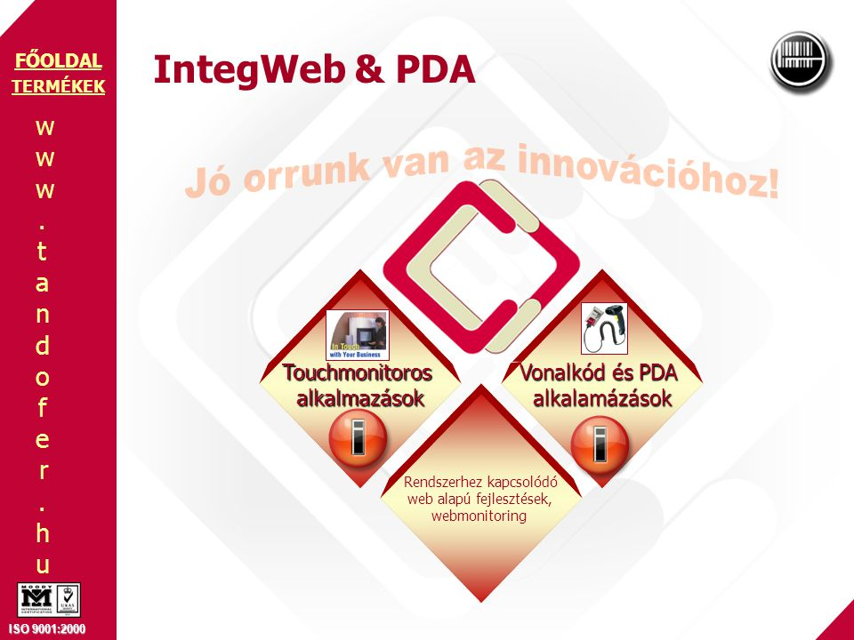 www.tandofer.huwww.tandofer.hu ISO 9001:2000 FŐOLDAL IntegWeb & PDA TERMÉKEK Touchmonitorosalkalmazások Rendszerhez kapcsolódó web alapú fejlesztések, webmonitoring Vonalkód és PDA alkalamázások