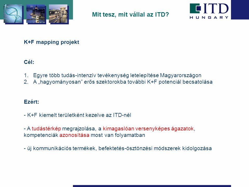 """K+F mapping projekt Cél: 1.Egyre több tudás-intenzív tevékenység letelepítése Magyarországon 2.A """"hagyományosan erős szektorokba további K+F potenciál becsatolása Ezért: - K+F kiemelt területként kezelve az ITD-nél - A tudástérkép megrajzolása, a kimagaslóan versenyképes ágazatok, kompetenciák azonosítása most van folyamatban - új kommunikációs termékek, befektetés-ösztönzési módszerek kidolgozása Mit tesz, mit vállal az ITD"""