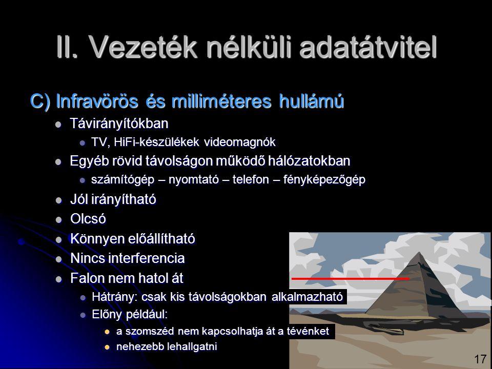 II. Vezeték nélküli adatátvitel C) Infravörös és milliméteres hullámú  Távirányítókban  TV, HiFi-készülékek videomagnók  Egyéb rövid távolságon műk