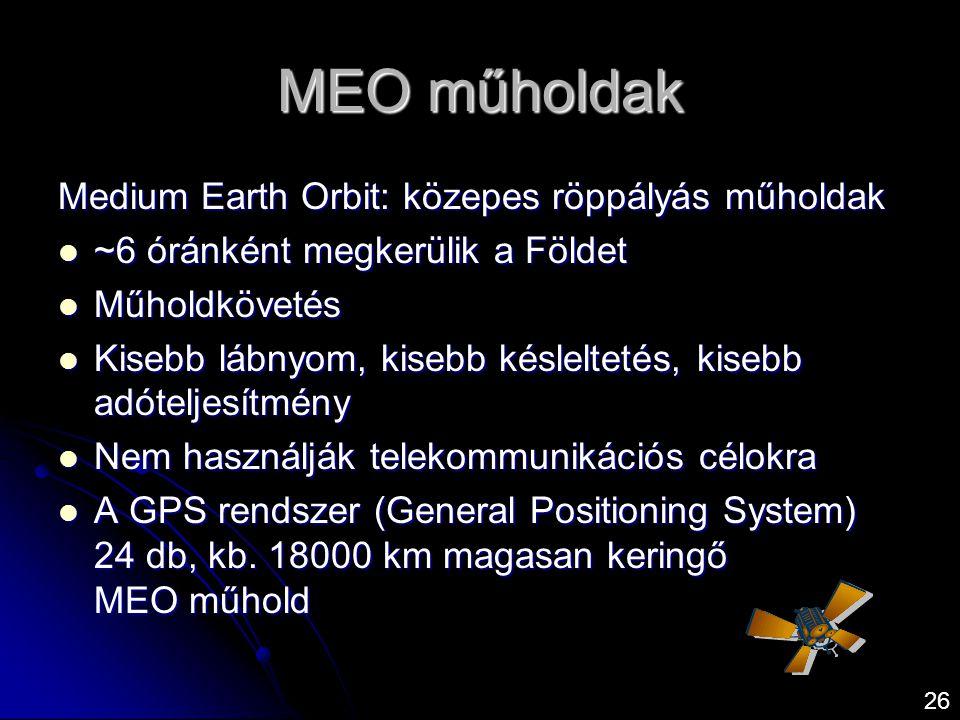 MEO műholdak Medium Earth Orbit: közepes röppályás műholdak  ~6 óránként megkerülik a Földet  Műholdkövetés  Kisebb lábnyom, kisebb késleltetés, ki