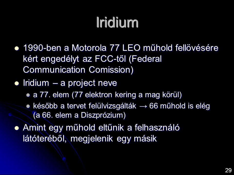 Iridium  1990-ben a Motorola 77 LEO műhold fellövésére kért engedélyt az FCC-től (Federal Communication Comission)  Iridium – a project neve  a 77.