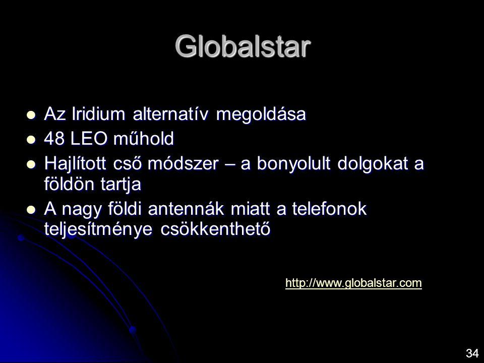 Globalstar  Az Iridium alternatív megoldása  48 LEO műhold  Hajlított cső módszer – a bonyolult dolgokat a földön tartja  A nagy földi antennák mi