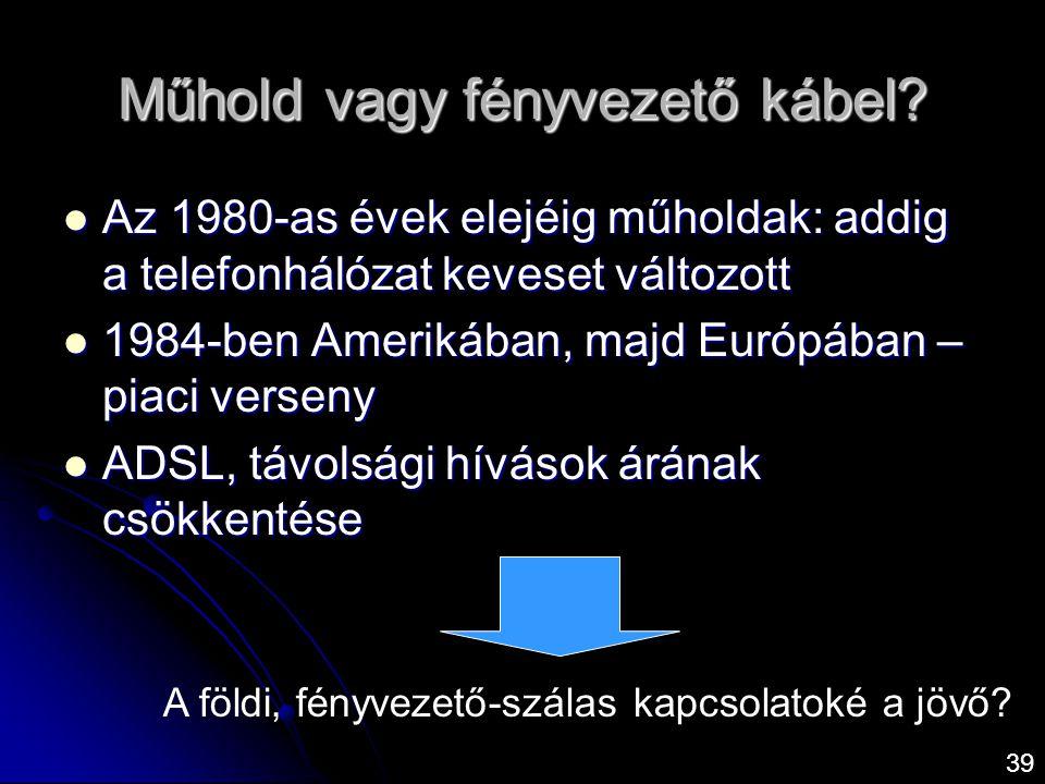 Műhold vagy fényvezető kábel?  Az 1980-as évek elejéig műholdak: addig a telefonhálózat keveset változott  1984-ben Amerikában, majd Európában – pia