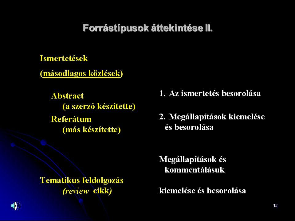 13 Forrástípusok áttekintése II.